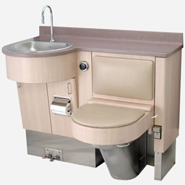 "47"" Wide Stainless Steel Frame Cabinet, Fixed Toilet with Bed  Side Seat/Cover, D-Shaped Lavatory"
