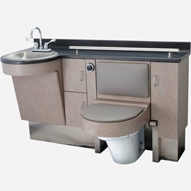 "58.875"" Wide Stainless Steel Frame Cabinet, Fixed Toilet with Bed Side Seat/Cover, D-Shaped Lavatory"