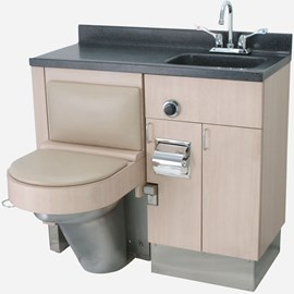 "40"" Wide Stainless Steel Frame Cabinet, Fixed Toilet with Bed Side Seat/Cover, Rectangular Lavatory"