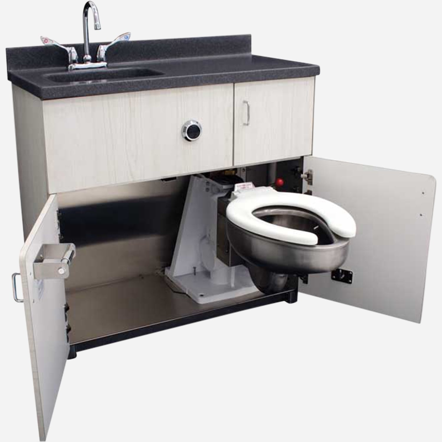 Free Standing Cabinet, Pivoting Toilet, Rectangular Lavatory, Back Waste  Outlet