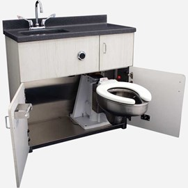 Side Waste Outlet, Free-Standing Cabinet, Pivoting Toilet, Rectangular Lavatory