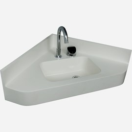 Corterra® Cast Solid Surface Compact Corner Basin