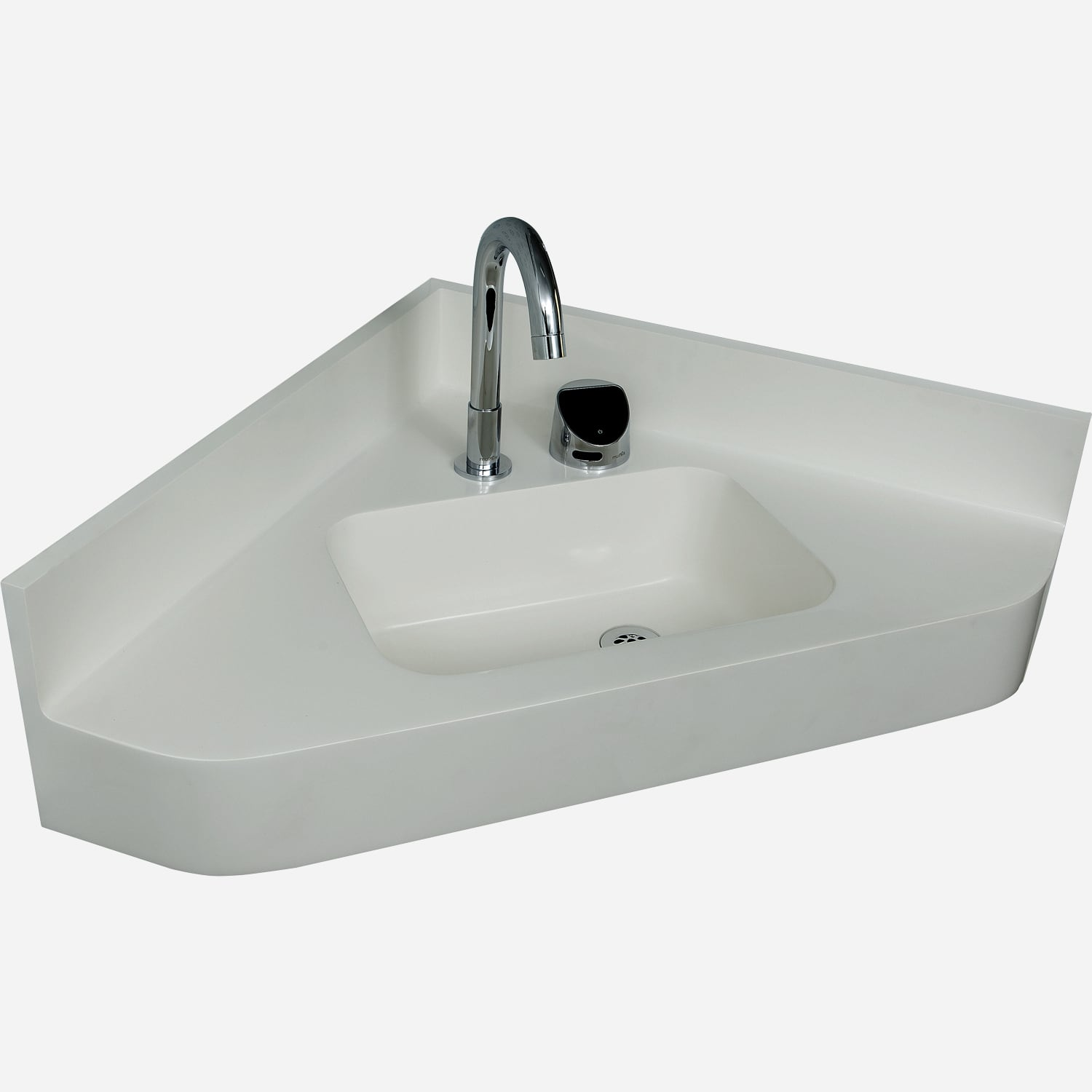 Corterra™ Cast Solid Surface Compact Corner Basin