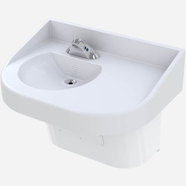 Ligature-Resistant, ADA Compliant Solid Surface Offset Vanity
