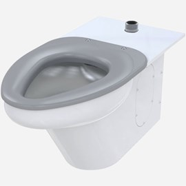 Ligature-Resistant Toilet, Top Supply, On-Floor, Wall Waste