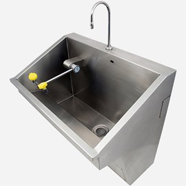 Barrier-Free Single-Station Stainless Steel Scrub Sink with Swing-down Eye-Face Wash