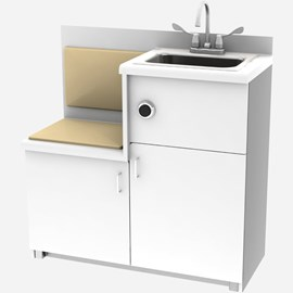 Free-Standing Cabinet with Built-in Seat, Pivoting Toilet, Rectangular Lavatory, Back Waste Outlet