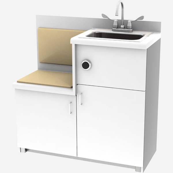 Side Waste Outlet, Free-Standing Cabinet with Built-in Seat