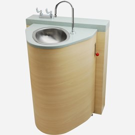 Floor Waste Outlet, Fixed Toilet with Pivoting Oval Lavatory Cabinet