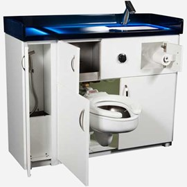 Side Waste Outlet, Free-Standing Cabinet with Bed Pan Washer, Pivoting Toilet, Rectangular Lavatory