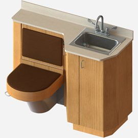 "47"" Wide Wood Frame Cabinet, Fixed Toilet with Bed Side Seat/Cover, Rectangular Lavatory"