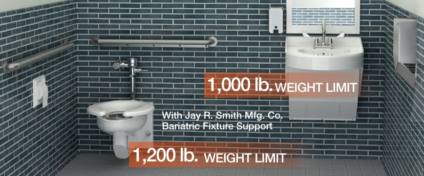 Bariatric Bathroom with Stainless Steel Sinks & Bariatric Toilets