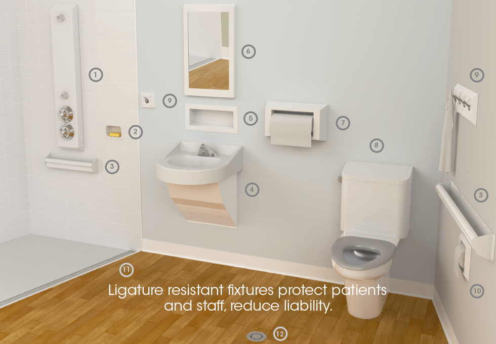 Ligature resistant fixtures protect patients and staff, reduce liability.