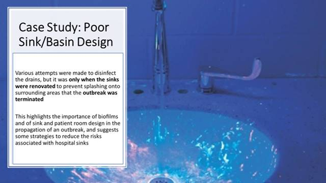 description of poor sink design & how it affects HAIs