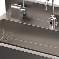 offset drain sink for infection prevention